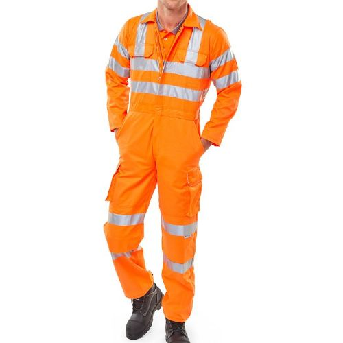 BSeen Orange Hi Vis Rail Spec Coverall